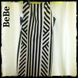 Bebe black/nude bodycon mini stretch tank dress